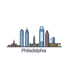 flat line philadelphia banner vector image vector image