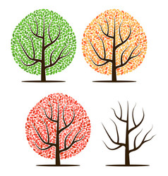 four trees with green red yellow leaves vector image