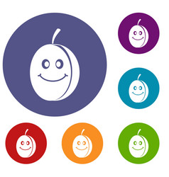 Fresh smiling plum icons set vector