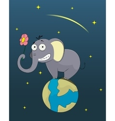 Funny elephant standing in the world vector image