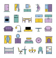 furniture seamless pattern furnishings vector image vector image