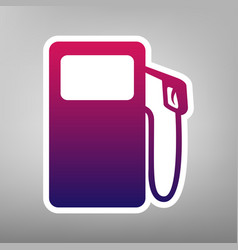 Gas pump sign purple gradient icon on vector