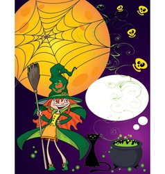 Halloween little witch vector image vector image