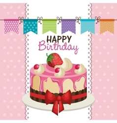 happy birthday invitation with sweet cake vector image