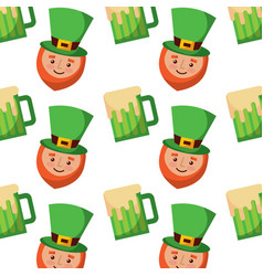 Happy face leprechaun and beer glass pattern vector
