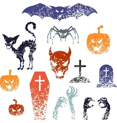 Happy Halloween symbols with grunge texture vector image