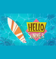 Hello summer vacation sea travel retro banner vector
