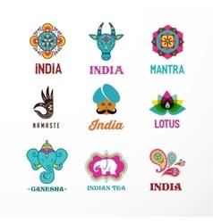 India - set of indian icons ganesh elephant vector