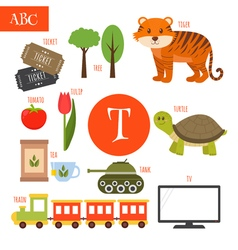 Letter T Cartoon alphabet for children Tiger vector image