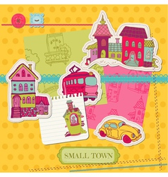 Little town scrap - for scrapbooking and design vector