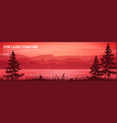 Mountains and forest header wild nature landscape vector