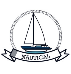 Nautical frame with sailboat vector