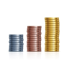 stacks of coins Gold silver and copper vector image vector image