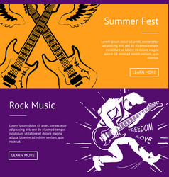summer fest and rock music collection of banners vector image