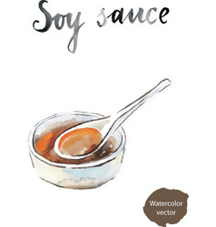 watercolor soy sauce vector image