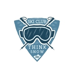 Winter sports ski club label with goggles vintage vector