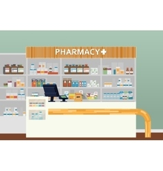 Medical pharmacy or drugstore interior design vector