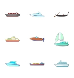 Ocean transport icons set cartoon style vector