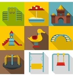Children rides icons set flat style vector