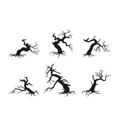 silhouette of the old broken tree vector image
