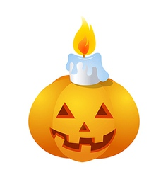 Icon pumkin and candle on halloween vector