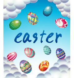Easter card template with eggs in blue sky vector