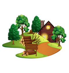 Log cabin with many trees vector