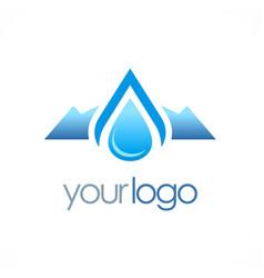 mountain water drop logo vector image