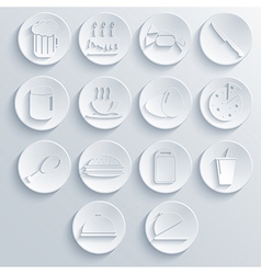 Food icon set on blue background eps10 vector