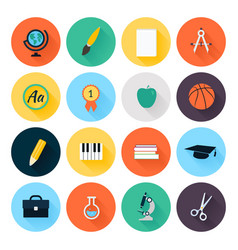 Set of colorful flat school and education icons vector