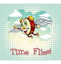 English idiom time flies vector
