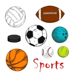 Sporting items for team games colored sketches vector