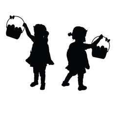 Child silhouette with egg in basket vector