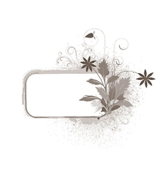 grunge floral frame with space for text vector image