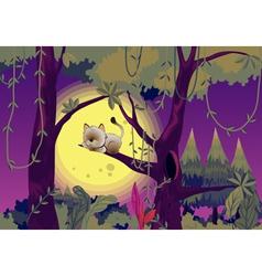 Cat sleeping in tree vector image