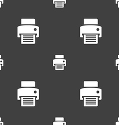 Fax printer icon sign seamless pattern on a gray vector