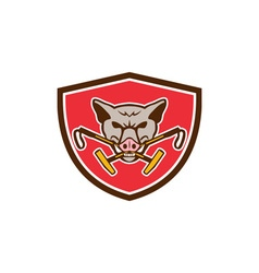 Wild hog head crossed polo mallet crest retro vector