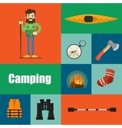 Camping equipment banners symbols and icons vector