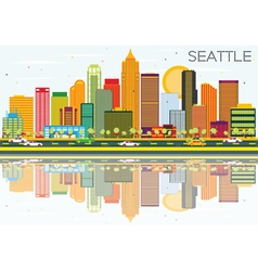 Abstract seattle skyline with color buildings vector