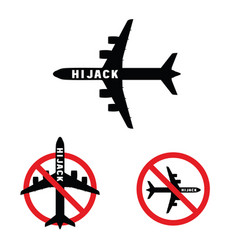 airplane with hi jak on it set vector image vector image