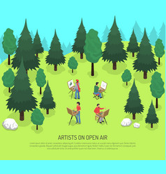 Artists on open air isometric vector
