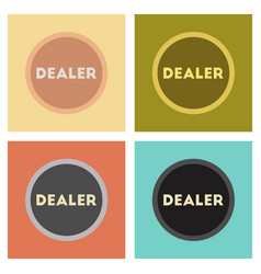 assembly flat icons poker chip dealer vector image