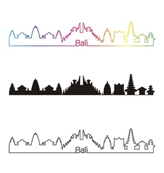Bali skyline linear style with rainbow vector