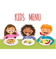 beautiful childrens enjoying healthy lunch in vector image