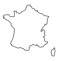 Black contour map of france vector
