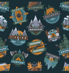 camping outdoor tourist travel logo scout badges vector image