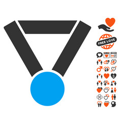 Champion award icon with love bonus vector