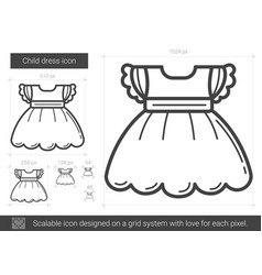 Child dress line icon vector