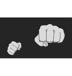 Clenched striking man fists in fight stance chalk vector