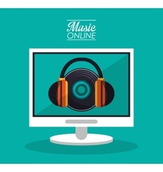 Computer headphone and music online design vector